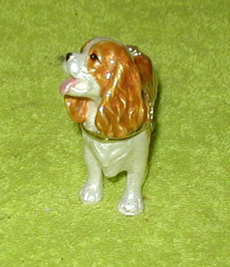 King Charles Spaniel Dog Enameled Trinket cast iron porcelain enameled trinket jewelry box bulldog novelty gift