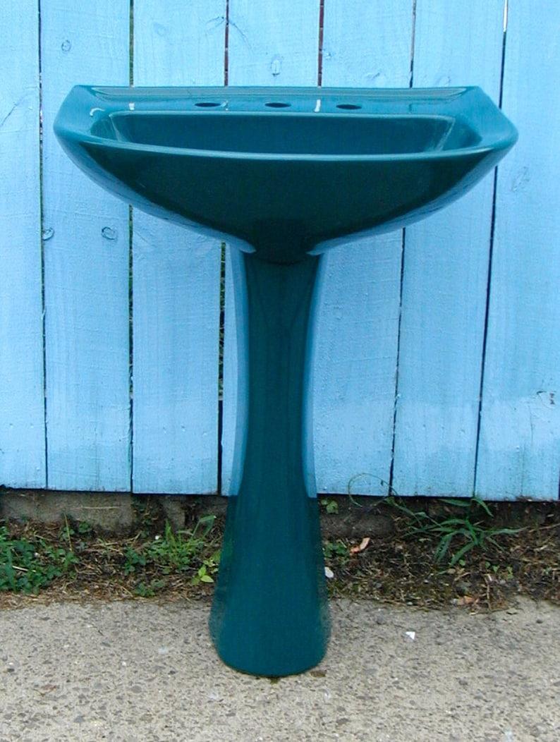 2 Matching Pedestal Sinks Emerald Green Vintage Original | Etsy