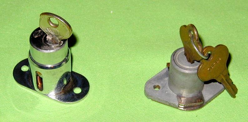 sterling sliding door locks vintage original USA made with keys works  original box and instructions brass chrome