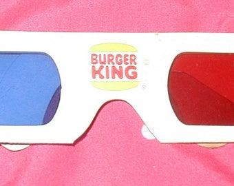 vintage 3D glasses Burger King give away for television very rare from 1980's fast food restaurant
