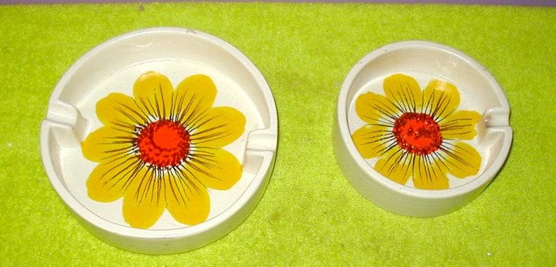 sunflower ash tray set vintage original ceramic bowl