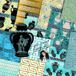 Greek key digital paper printable digital scrapbooking backgrounds wallpaper commercial use M589
