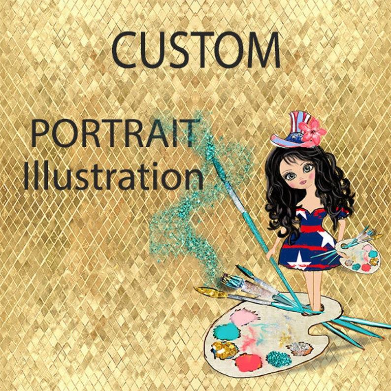 Custom Clipart Custom Portrait Custom illustration Personalized portrait gift for him Custom Portrait illustration Anime portrait