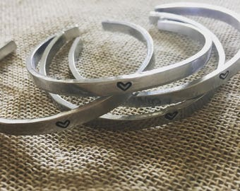 Simple Heart Stacking Cuff / Bracelet / Gift For Her / Jewellery / Accessories / Bridesmaid / Silver Colour /Aluminium / Anniversary