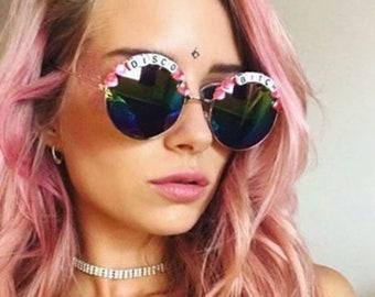 7257a9b7eeb329 DISCO   3 teef ronde Rainbow spiegel Festival zonnebrillen - aangepaste  ontwerpen beschikbaar