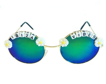 d45df171a92 IBIZA  3 VIBES Round Green  Blue Mirror Daisy Festival Sunglasses - Custom  Designs Available