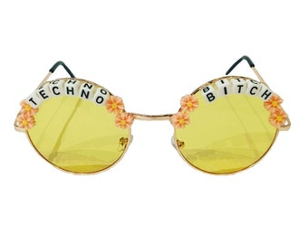 27f61abe278 TECHNO  3 BITCH Round Colour Tint Festival Sunglasses - Custom Designs  Available