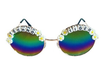93afb96673b TECHNO  3 TIGER Round Rainbow Daisy Mirror Festival Sunglasses - Custom  Designs Available