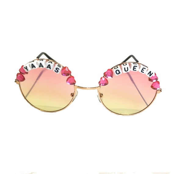 YAAAS <3 QUEEN Round Colour Tint Festival Sunglasses - Custom Designs Available