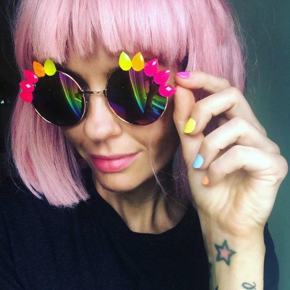 NEON <3 SPIKE Round Rainbow Mirror Festival Sunglasses - Custom Designs Available