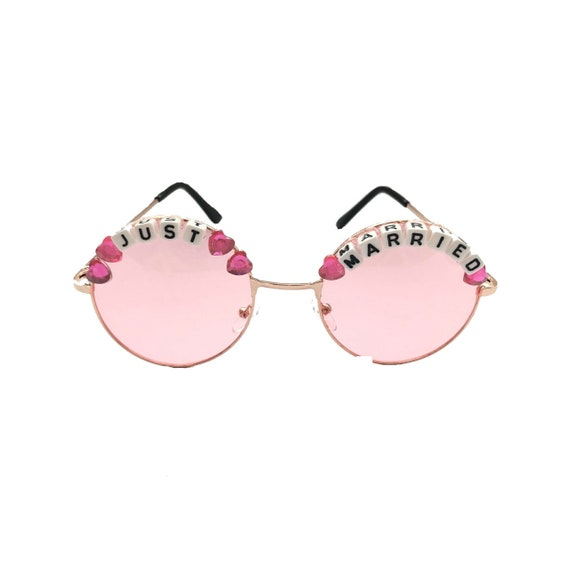 JUST <3 MARRIED Round Pink tint Festival Sunglasses - Custom Designs Available