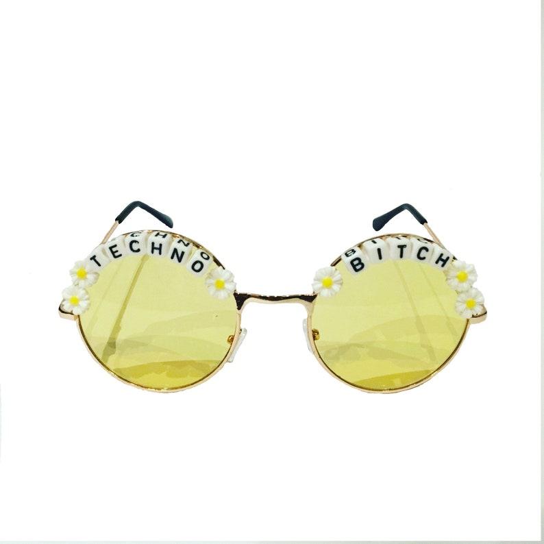 TECHNO 3 BITCH Round Colour Tint Festival Sunglasses Custom Designs Available