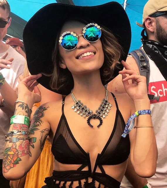 STAY <3 WILD Round Mirror Daisy Festival Sunglasses - Custom Designs Available