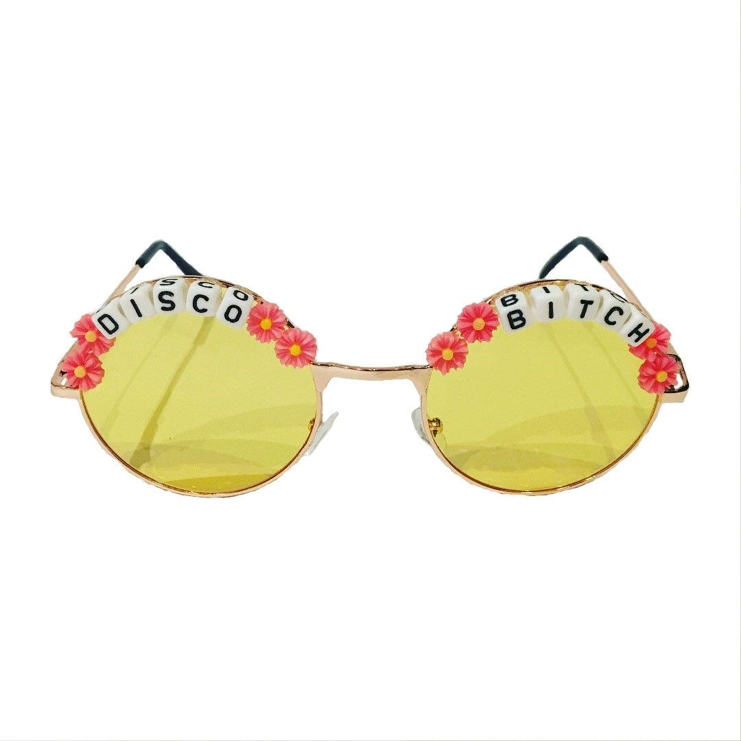 8cfdae8b97 DISCO 3 BITCH Round Colour Tint Festival Sunglasses | Etsy