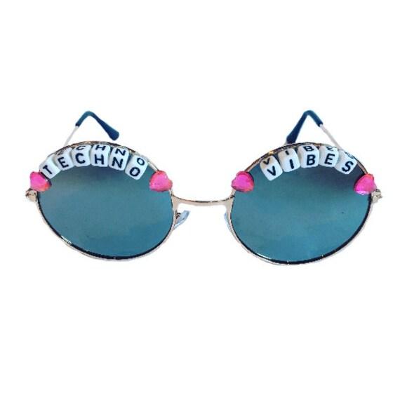 TECHNO <3 VIBES Round Heart Silver Mirror Festival Sunglasses - Custom Designs Available