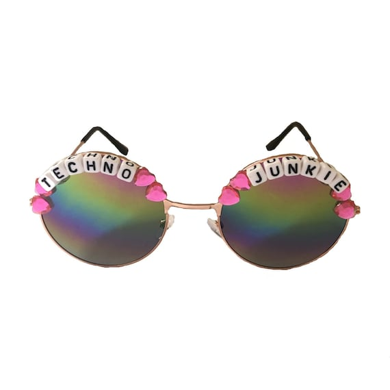 TECHNO <3 JUNKIE Round Rainbow Mirror Festival Sunglasses - Custom Designs Available