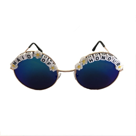MAID <3 OF <3 HONOUR Round Hen Party Festival Sunglasses - Custom Designs Available