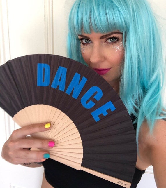 DANCE Black & Blue Wooden/ Fabric Spanish Folding Hand Fan