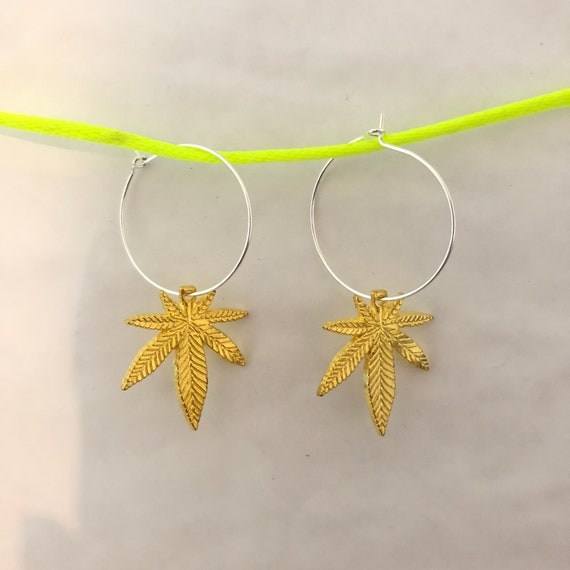 Weed Palm Leaf gold drop hoop earrings
