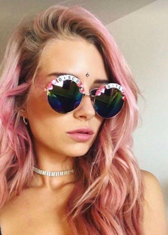 DISCO <3 BITCH Round Rainbow Mirror Festival Sunglasses - Custom Designs Available