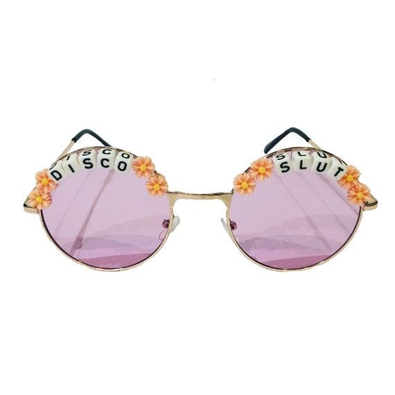DISCO <3 SLUT Round Colour Tint Festival Sunglasses - Custom Designs Available