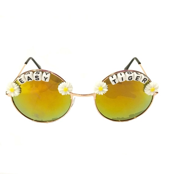 EASY <3 TIGER Round Mirror Festival Sunglasses - Custom Designs Available