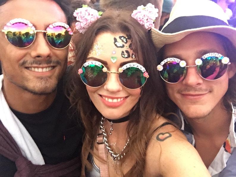 c89baec3fc TECHNO 3 SLUT Round Rainbow Mirror Festival Sunglasses | Etsy