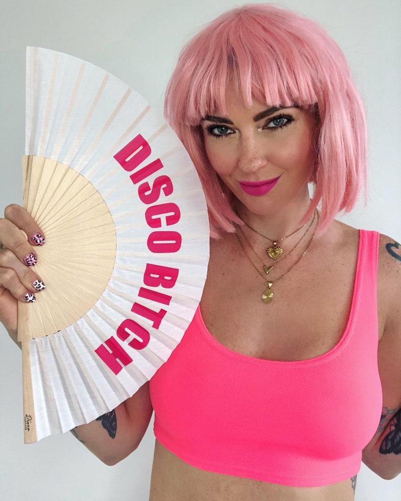 DISCO BITCH White /& Pink Wooden Fabric Spanish Folding Hand Fan