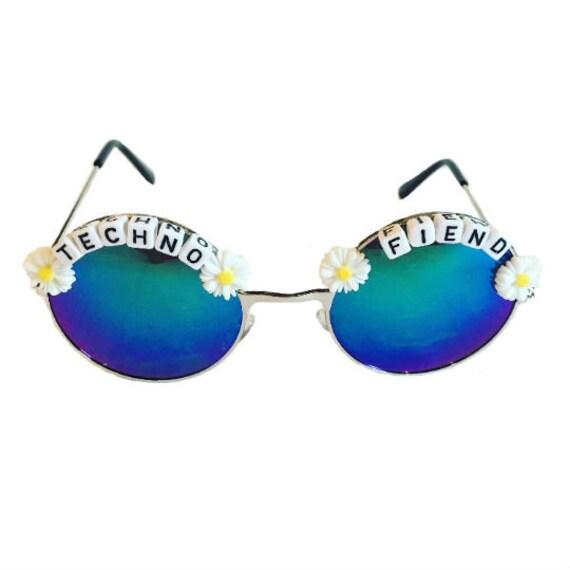 TECHNO <3 FIEND Round Blue/ Green Daisy Mirror Festival Sunglasses - Custom Designs Available