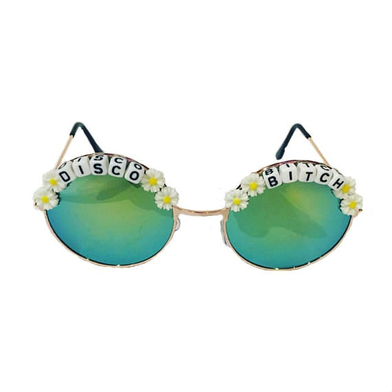DISCO <3 BITCH Round Turquoise Mirror Festival Sunglasses - Custom Designs Available
