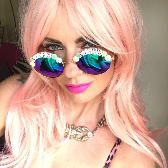 DISCO <3 BITCH Round Blue Mirror Festival Sunglasses - Custom Designs Available
