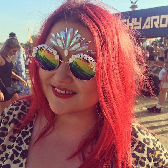 TECHNO <3 TIGER Round Rainbow Daisy Mirror Festival Sunglasses - Custom Designs Available