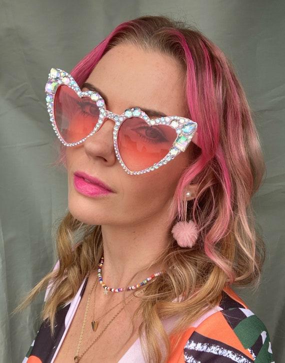 Iridescent Jewel Pink Heart Festival Sunglasses