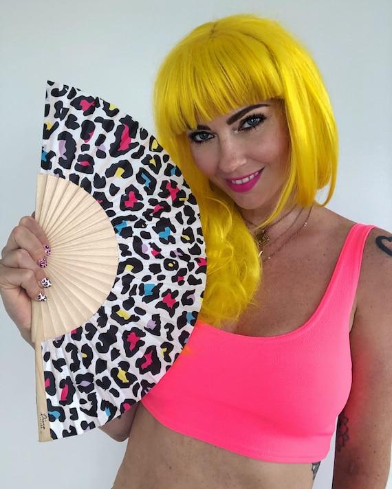 Multi Colour Leopard Print Wooden/ Fabric Spanish Folding Hand Fan
