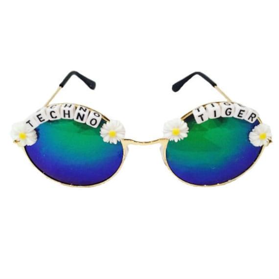 TECHNO <3 TIGER Round Blue/ Green Daisy Mirror Festival Sunglasses - Custom Designs Available
