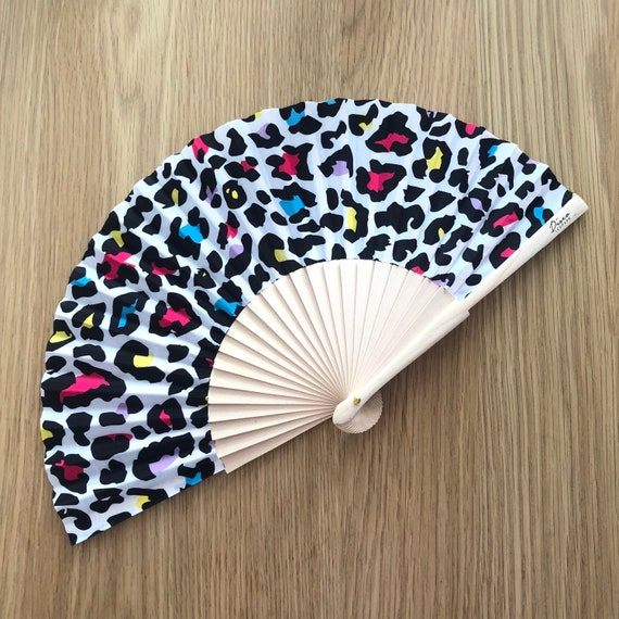 Multi Colour Leopard Print Wooden/ Fabric Spanish Folding Hand Fan