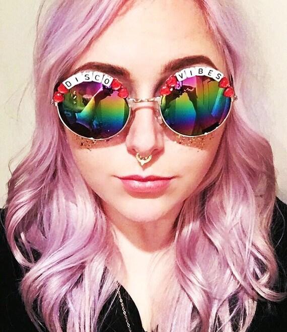 DISCO <3 VIBES Round Rainbow Mirror Festival Sunglasses - Custom Designs Available