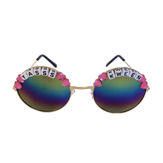 YASSS <3 KWEEN Round Colour Tint Festival Sunglasses - Custom Designs Available