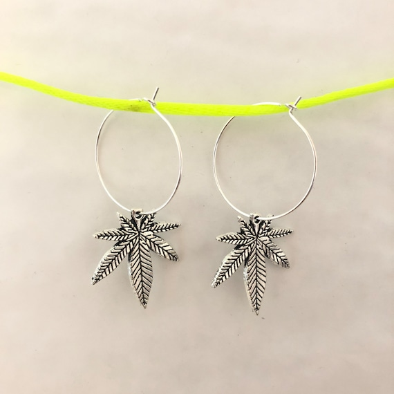 Weed Palm Leaf silver drop hoop earrings