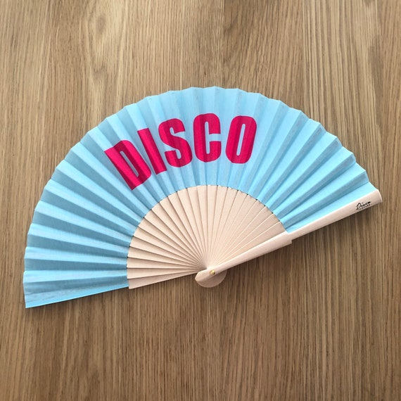 DISCO BITCH Blue & Pink Wooden/ Fabric Spanish Folding Hand Fan