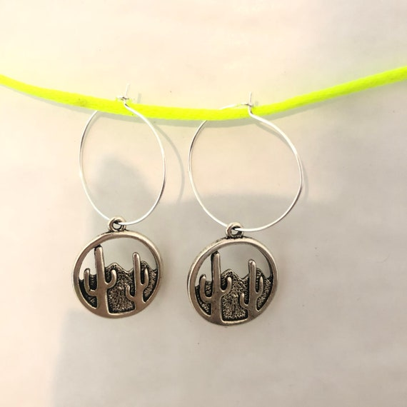 Cactus silver drop hoop earrings