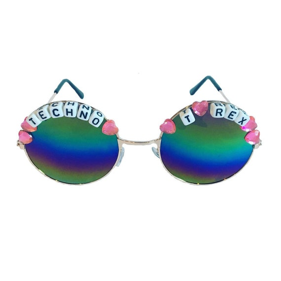 TECHNO <3 T REX Round Rainbow Mirror Festival Sunglasses - Custom Designs Available