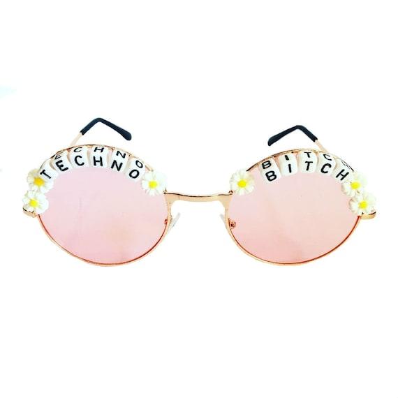 TECHNO <3 BITCH Round Colour Tint Festival Sunglasses - Custom Designs Available