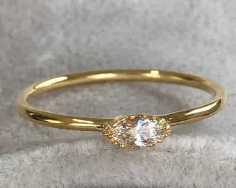Diamond Gold Ring, Gold Ring Marquise, Ring Diamond Marquise, Ring Yellow Gold, Silver Zirconia Handmade Ring, Ring Marquise, Ring Promise