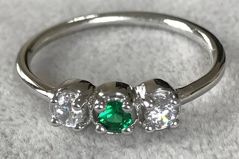White gold birthstone ring for her  Mothers day ring for mom image 0