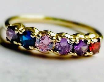14k Mothers Day Rings, Mothers Day Jewelry, Birthstone Gold Rings, Custom Birthstone Rings, Christmas Gift Family Ring With 5 Birthstones