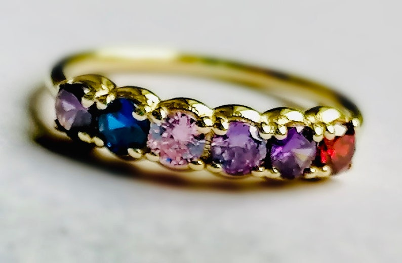 14k Mothers Day Rings Mothers Day Jewelry Birthstone Gold image 0