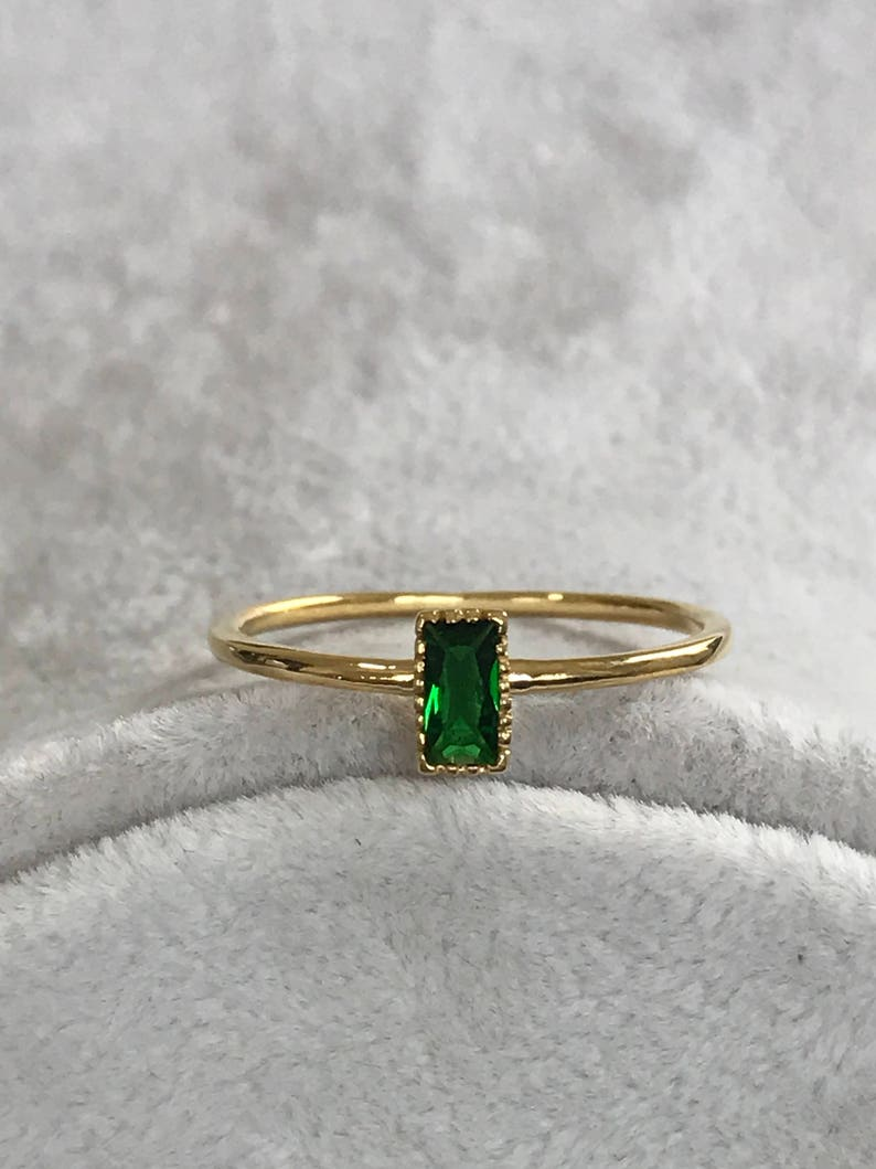 Yellow Gold Ring Birthstone Ring Baguette Ring Bridal Rings Wedding Rings Promise Ring Engagement Ring Simple Engagement Ring