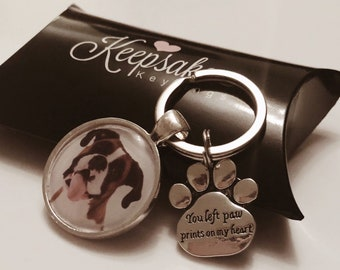 Personalised Photo Keyring - You Left Paw Prints on my Heart - Cat Dog Pet Memory Memorial In Memory of Loss Present - Gift Box