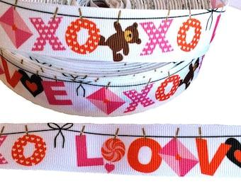 """XOXO LOVE ~ Valentine's Day ~ Grosgrain Ribbon  ~7/8"""" ~ 7/8 inch"""
